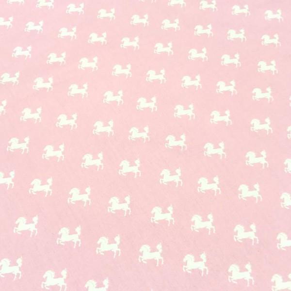 Patchworkstoff weiße Pferde auf rosa